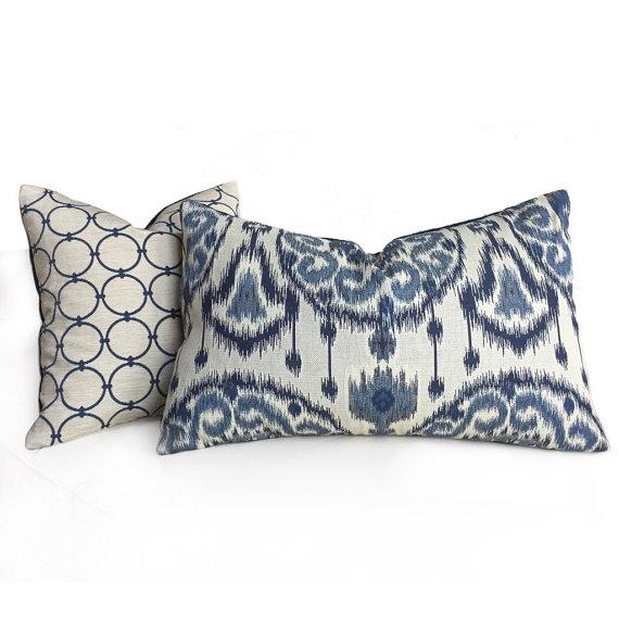 16X26 Pillow Insert Kravet Ikat Ethnic Medallion Motif Blue Light Beige Pillow Cover