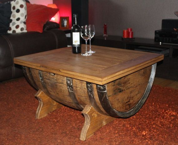 This Coffee Table Is Made From Half Of A Reclaimed Whisky Barrel