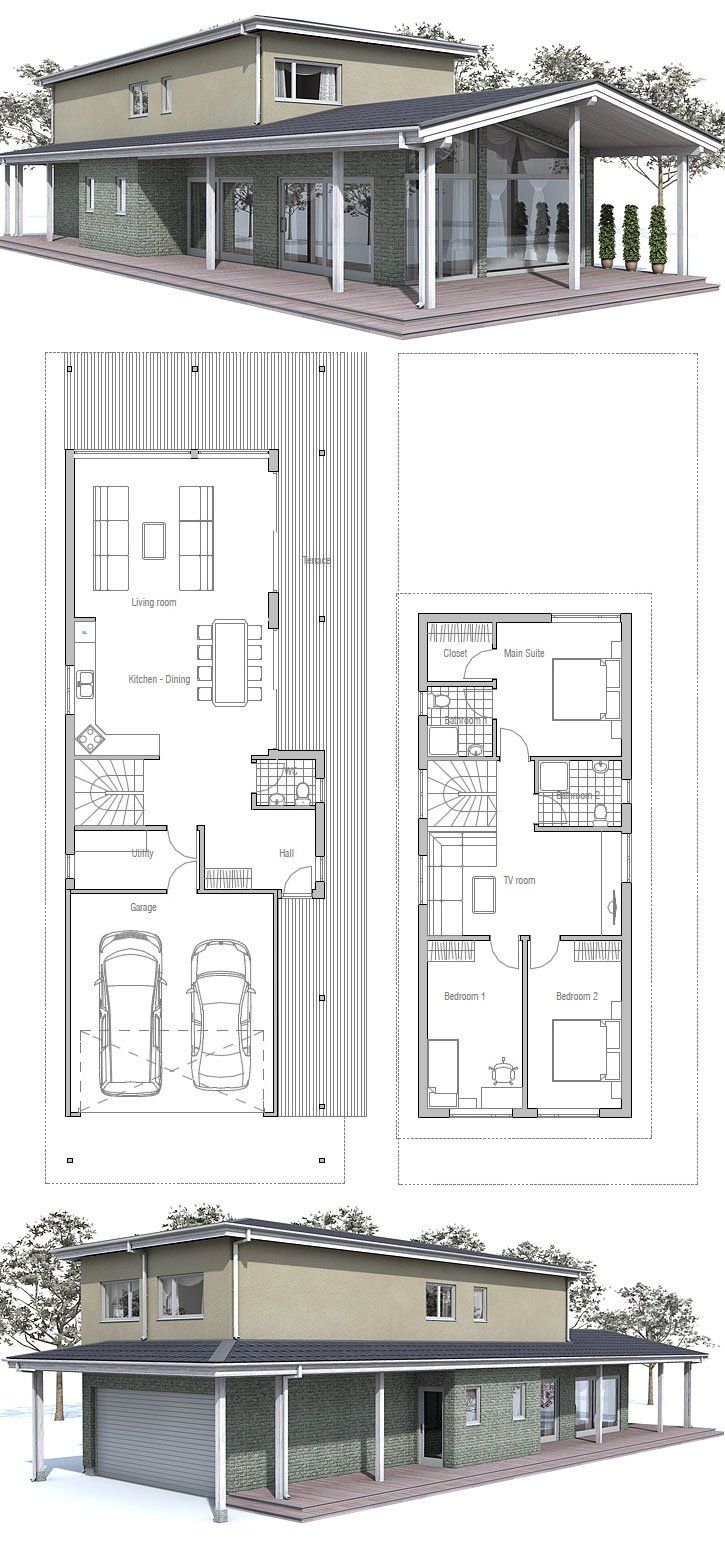 Modern House To Narrow Lot Floor Plan From Concepthome