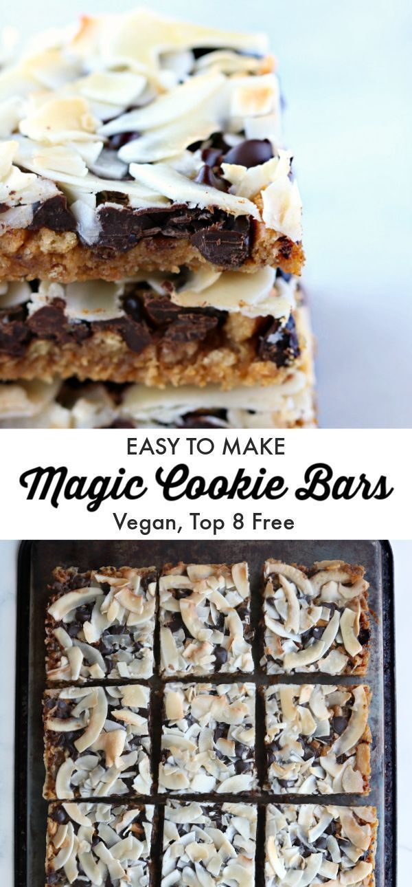 Magic Cookie Bars. No mixing bowl or spoon required to make these super-easy, vegan, allergy-friendly, buttery, salty, chocolaty bars. Just layer and bake. |recipe |