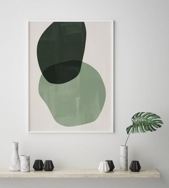 Photo of Mid century modern print set. Abstract shapes prints set. Modern art set. Abstract art set. Olive green print set. Dark green art prints