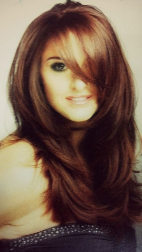 Long layers with side bangs   Haircuts for long hair with ...