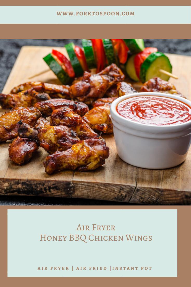 Air Fryer Honey Bbq Chicken Wings Fork To Spoon Recipe Bbq Chicken Wings Honey Bbq Honey Bbq Chicken Wings