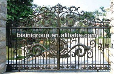 Bisini Elegant Luxury Design Galvanize Wrought Iron Main Gate Design Bg100008 Wall Exterior Iron Gates
