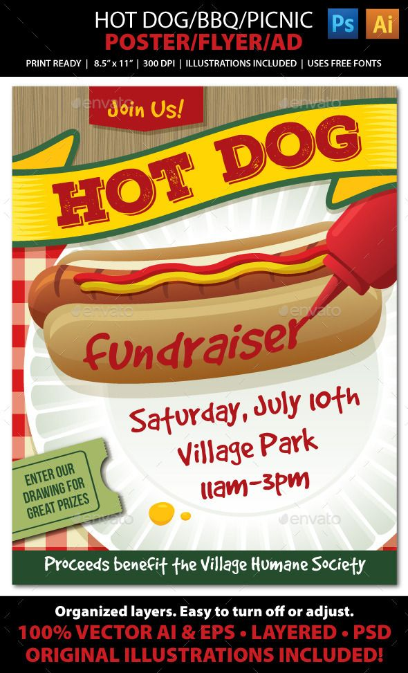 Hot Dog Bbq Picnic Event Poster Flyer Or Ad Picnics Ads And