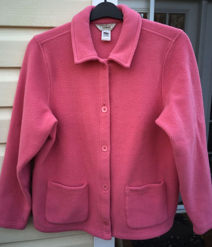 L.L. Bean Fleece Jacket Hot Pink Large Polartec Button Sweater ...