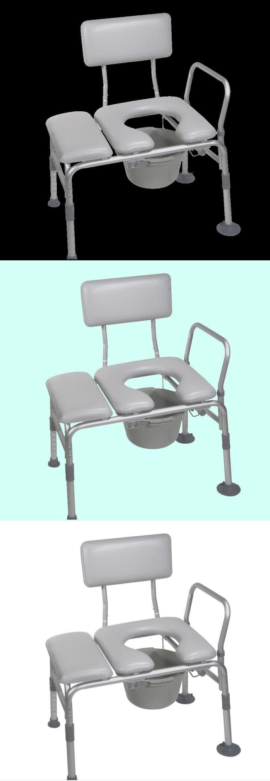 PADDED BATH TUB TRANSFER BENCH Commode Seat Shower Handicap Bathtub ...