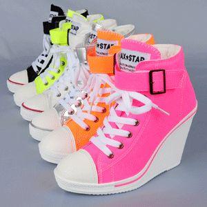 Women canvas shoes High Heel Wedges