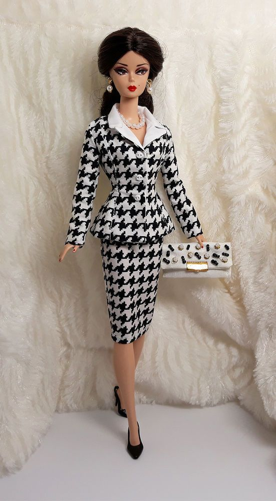 Handmade Houndstooth Black White Outfit Dress Bag Jewelry For Silkstone Fr 12 Sitar Large Super Rich Barbie Dress Barbie Clothes Black White Outfit