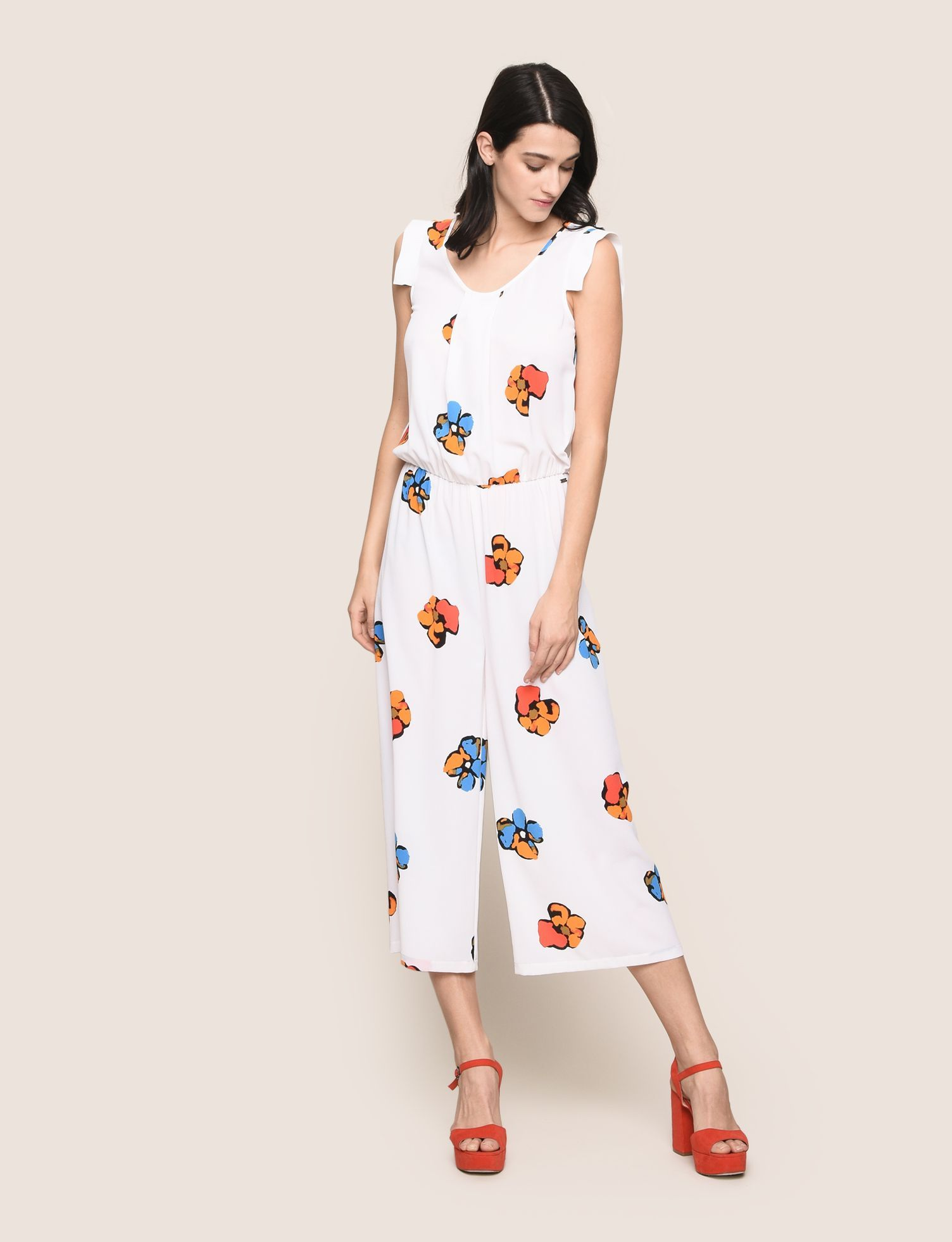 c308edf0 ARMANI EXCHANGE ABSTRACT FLORAL PLEATED JUMPSUIT Jumpsuits Woman d ...