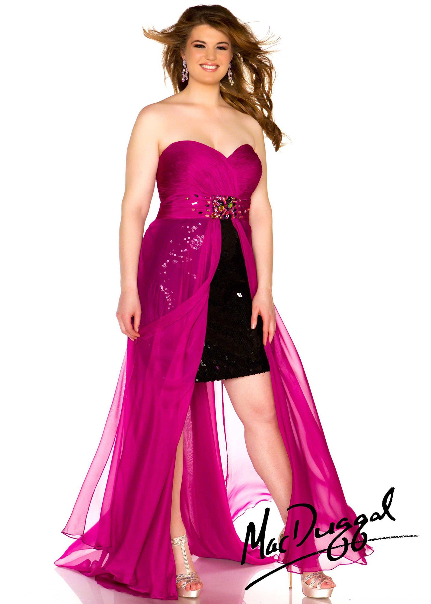 Fabulouss by Mac Duggal 64267F black, pink sequin strapless plus ...