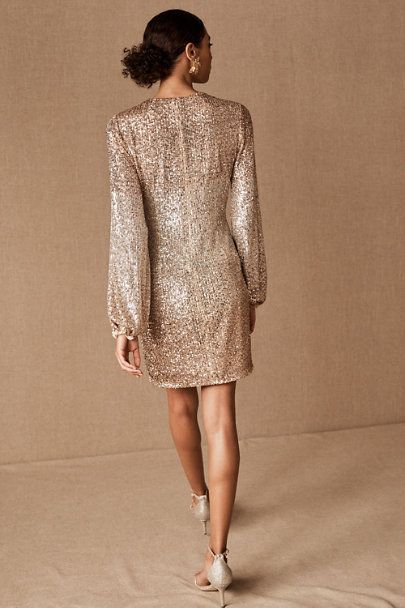 Bhldn Carys Dress In Rose Gold  Size 6 - Occasion dresses, Dresses, Special occasion dresses, White short dress, Formal dress shops, Little white dresses - Allover ombre sequins and voluminous bubble sleeves make this mini a sparkling statement piece for festive occasions  This item is available for tryon in all stores; book an appointment at your local BHLDN shop Only available at BHLDN