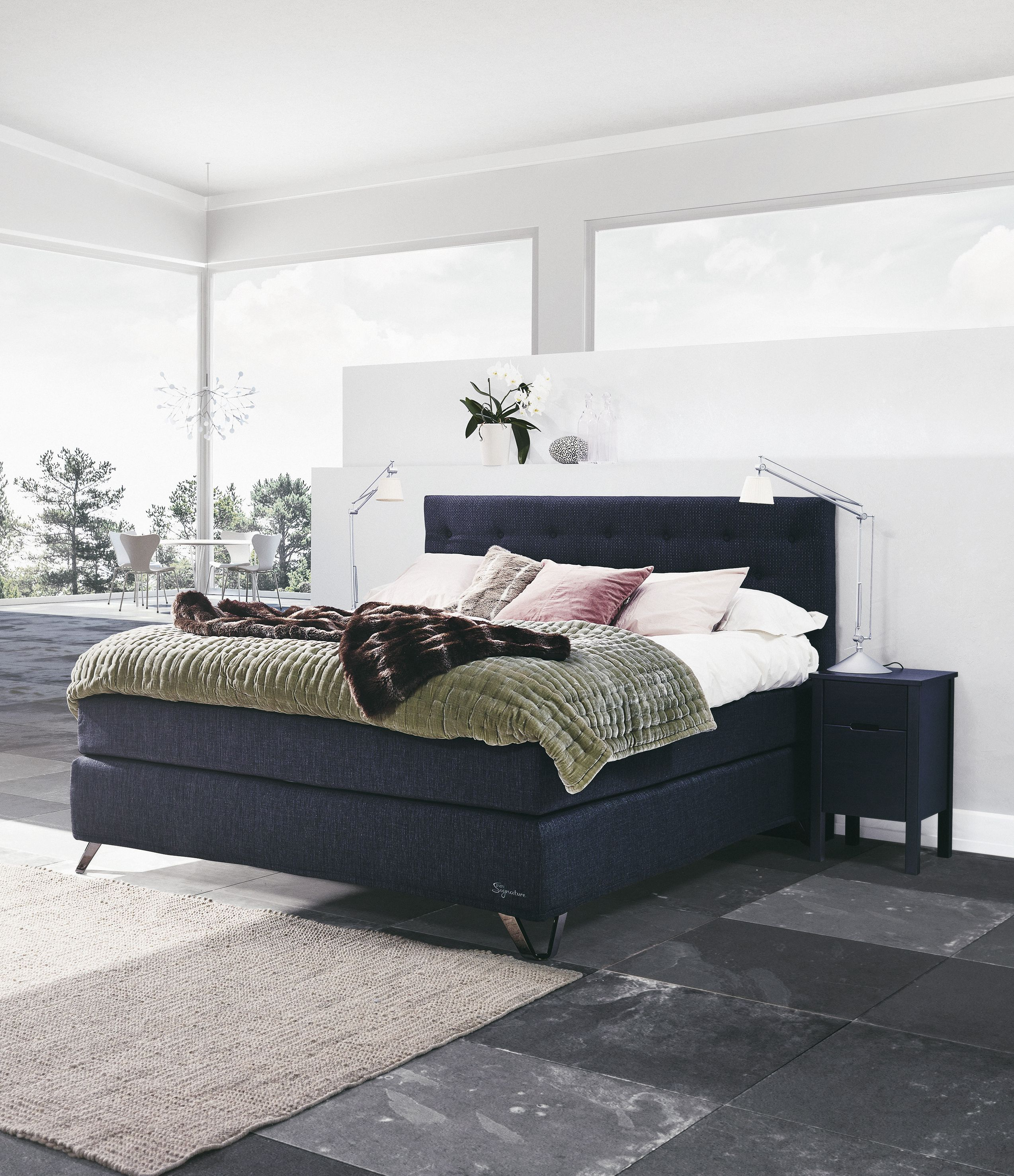 Jensen Signature J6 Continental Bed With Anthracite Textiles
