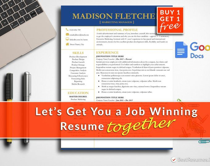Modern Resume Template Google Docs Resume Template Instant Download - google docs resume templates