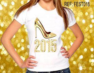 Camisetas Personalizadas de Ano Novo  2015 sapato t-shirt