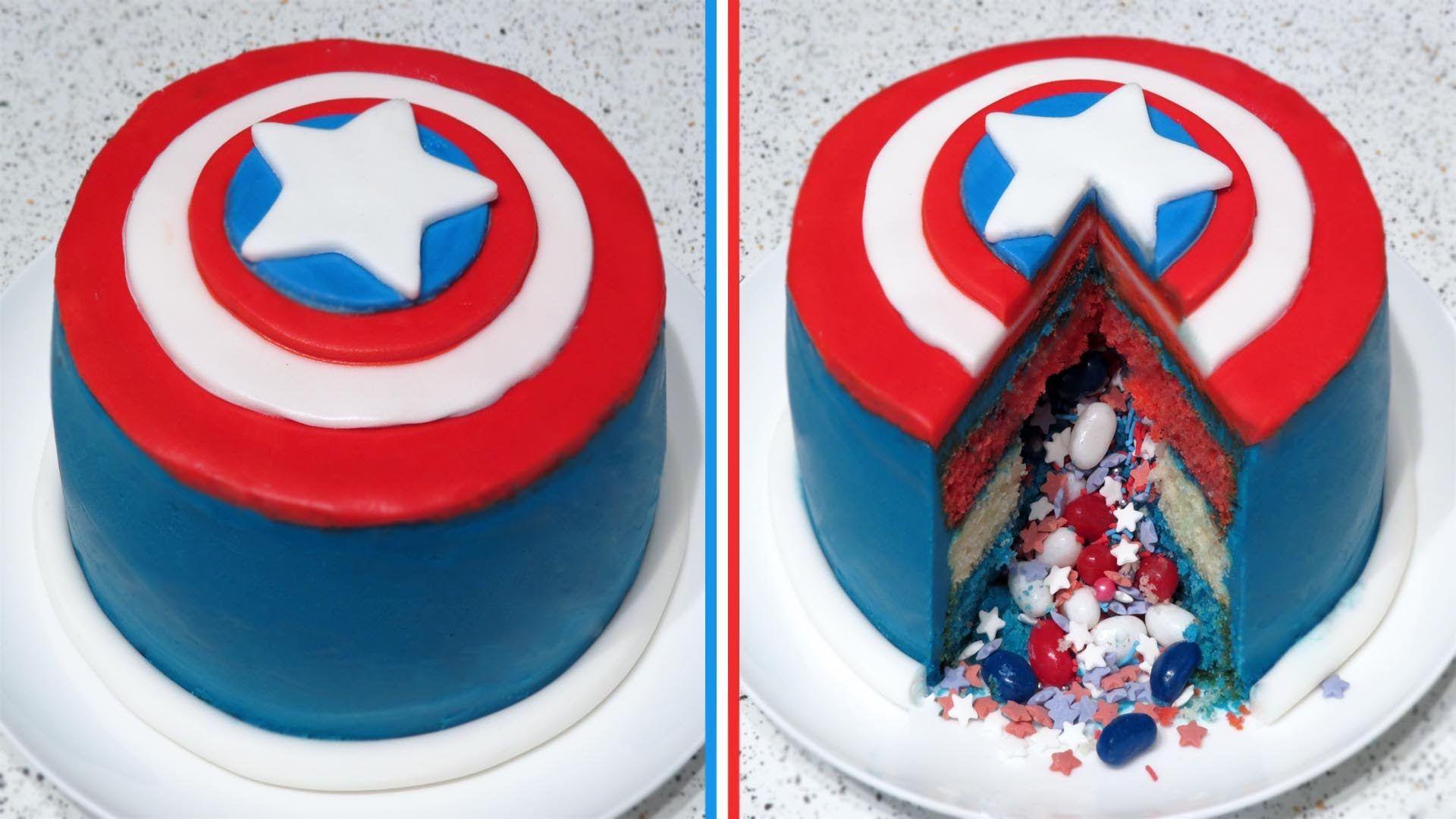 Awesome Captain America Surprise Inside Pinata Cake Recipe Cupcakegirl Funny Birthday Cards Online Alyptdamsfinfo