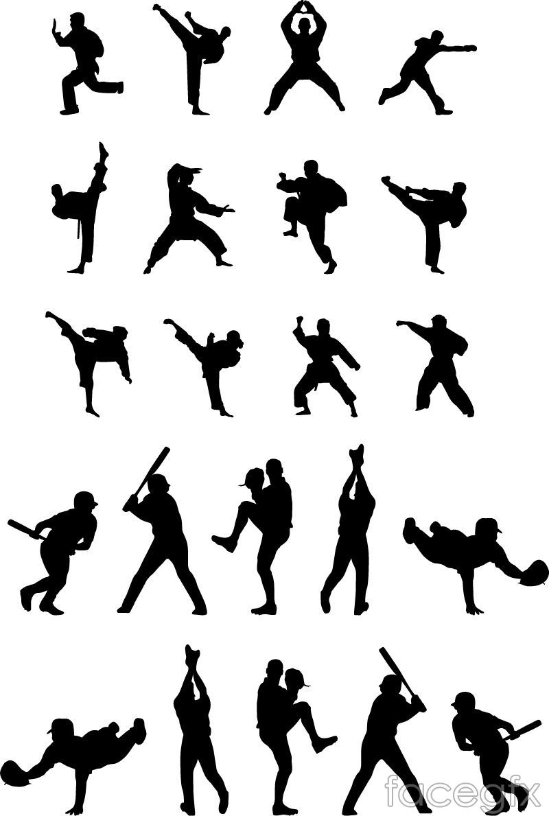 22 Sports Figures Silhouette Vector For Free Download