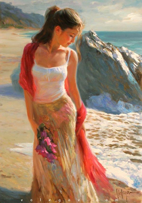 Женщина и море картинки нарисованные, жены