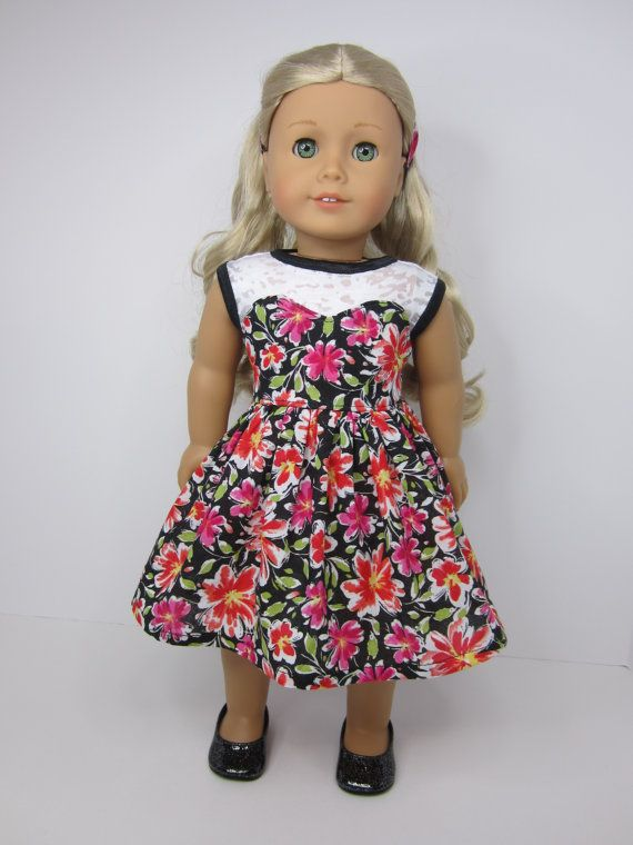 American girl doll clothes- Pretty flowered blossom dress by JazzyDollDuds