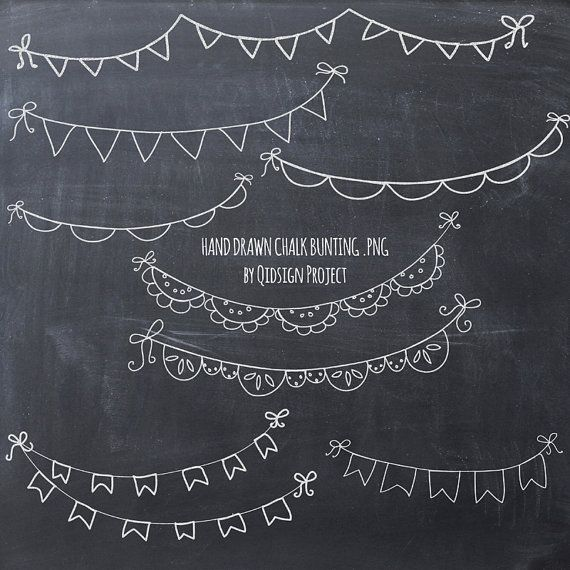 Hand drawn chalk bunting clipart- doodle chalk bunting - Scrapbook - chalk board invitation template