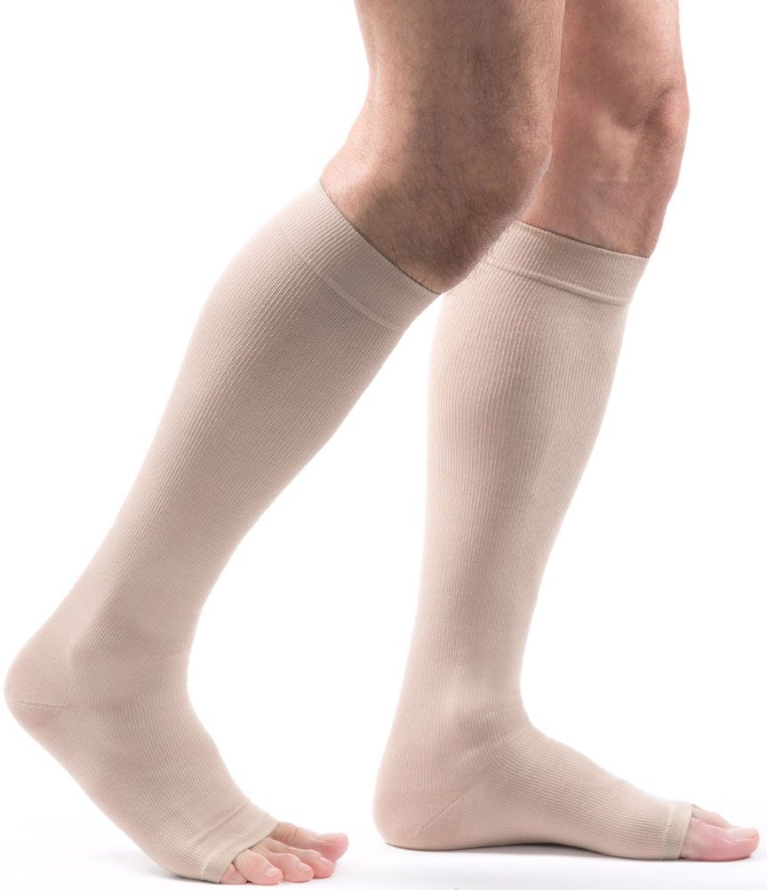 ff96f07ae8 Allegro Premium - Italian Open Toe Cotton Compression Socks in Beige -  Provide 15-20mmHg of gradient compression to help improve blood flow,  prevent minor ...