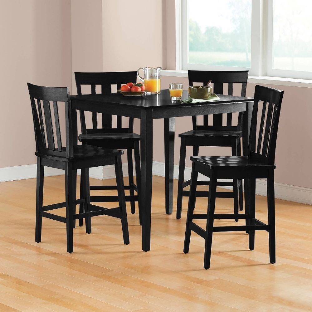 5pc Counter Height Dining Set Table Chairs Black Tall Dinette