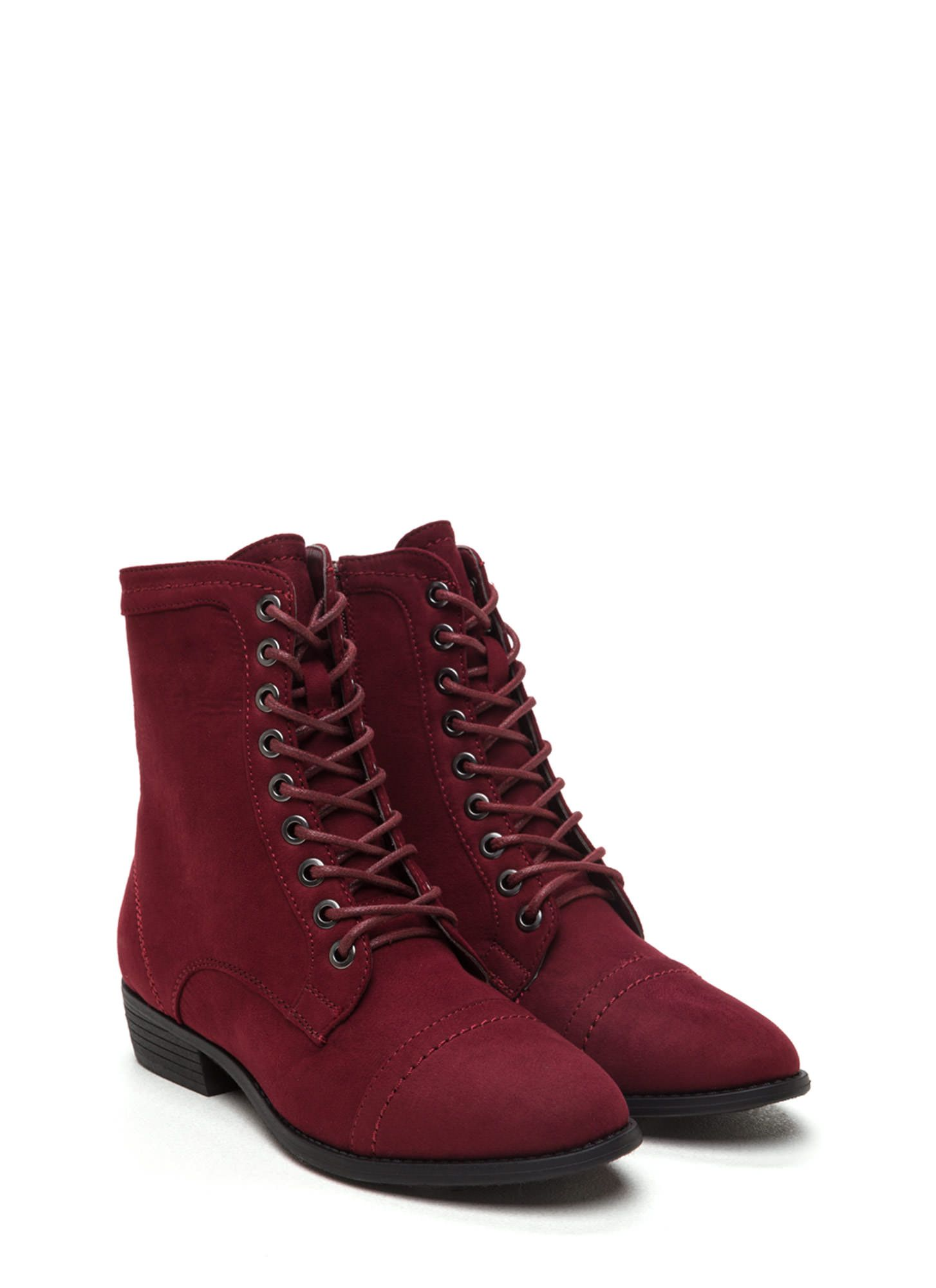 Laced Up Faux Suede Booties BURGUNDY