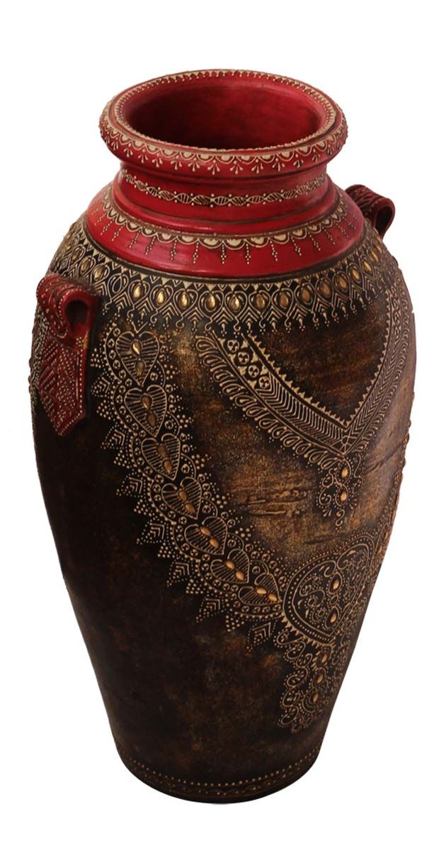 Bulk Wholesale Handmade 20 Red Black Golden Flower Vase In Terracotta Decorated With Beads Cone Painting A Vase Crafts Flower Art Painting Art Deco Vases