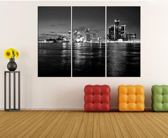 black and white detroit skyline Large wall art canvas Print, detroit ...