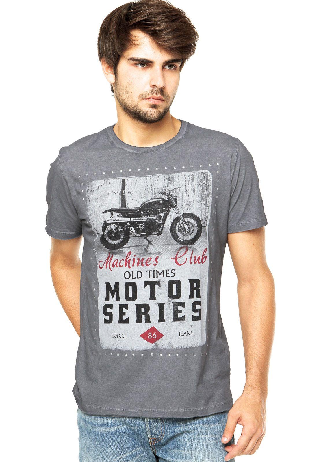 7734fb523 Camiseta Colcci Cinza | Graphic Tees | Camisetas legais, Colcci ...