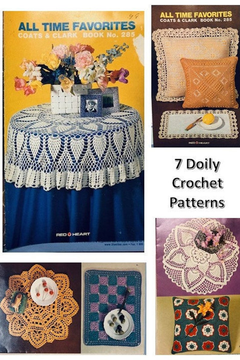 7 Crochet Doily Pattern Lace Pineapple Table Cloth Center Piece Granny Square Decorative Pillow Edging Popcorn Filet Crochet Vintage 80's #pillowedgingcrochet