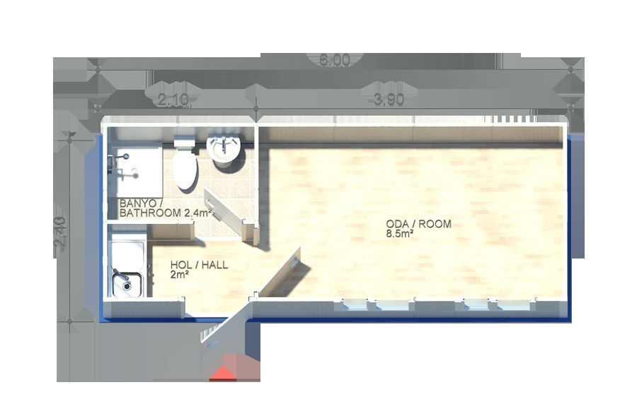 Bürocontainer mit WC Küche und Dusch Baucontainer Sanitärcontainer ...