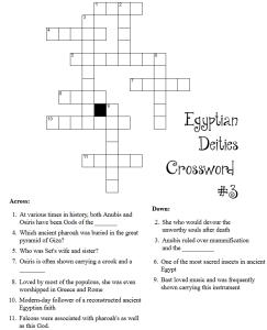 Egyptian Deity Crossword Puzzles Little Pagan Acorns Egyptian Deity Crossword Deities