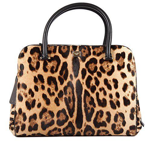 Dolce Gabbana Womens Tote Bag In Brown Leopard Print Calf Hair Handbag Purse Bb5534 80022