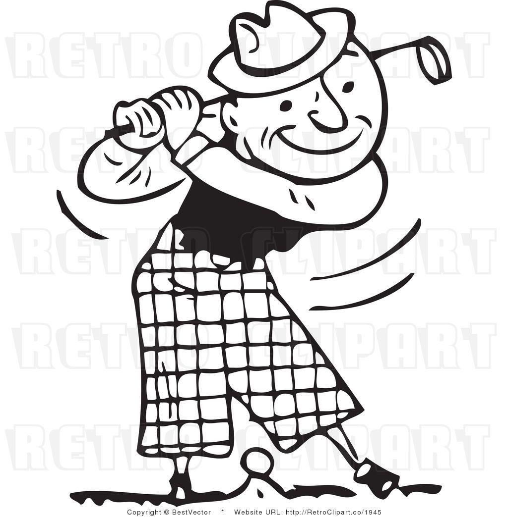 Golf retro. Golfing for cards crafts