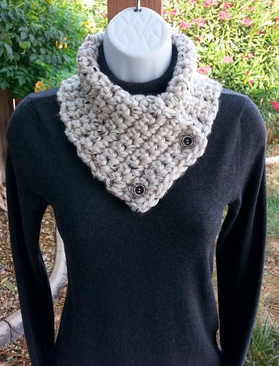 Buttons NECK WARMER SCARF Black Gray Grey Tweed Thick Soft Buttoned Winter Cowl