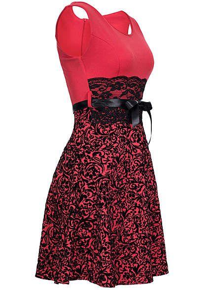 f146df3e5d8da5 Styleboom Fashion Damen Mini Kleid Florales Muster Spitze Bindeband rot  schwarz Styleboom Fashion Kleider