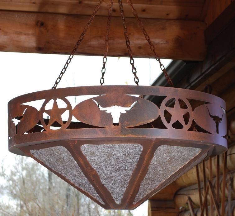 Texas Star Longhorn Rustic Western Chandelier 24 Inch Lighting Decor Ironwood StarDining Room