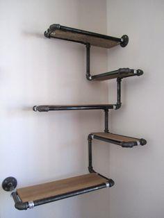 estante de la pared del tubo con madera por en etsy
