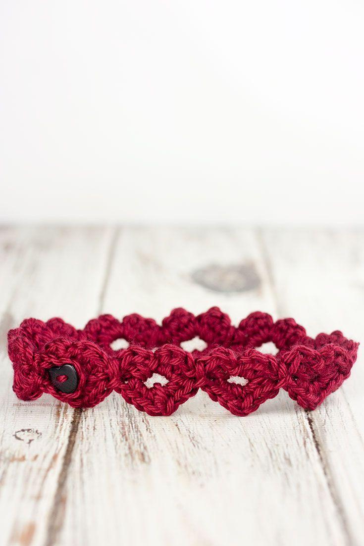 Crochet Heart Headband Pattern | Tejido, Banda y Ganchillo