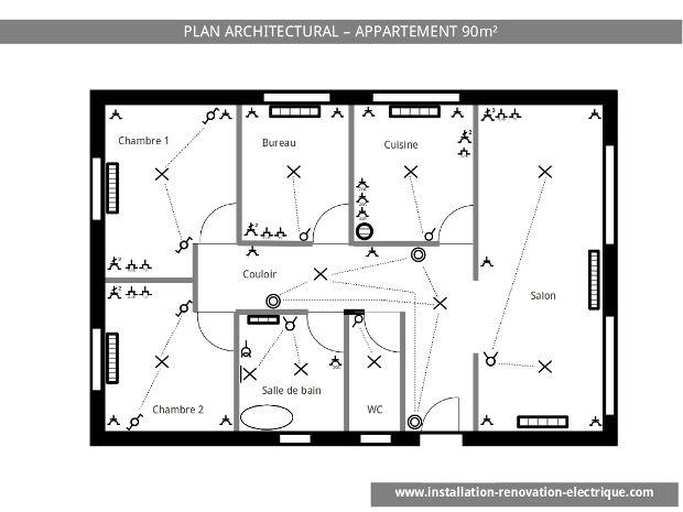 Plan architectural d\u0027une installation électrique d\u0027appartement 1 - Plan Electrique Salle De Bain