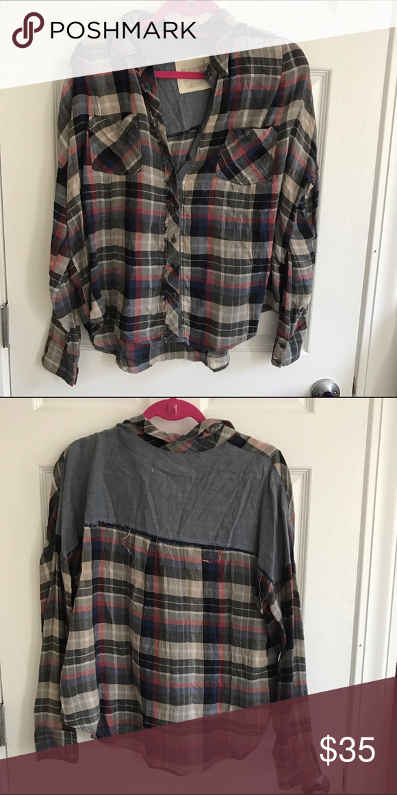 Free People Grey Plaid Button Down Shirt Great condition. Nice for winter. Cute boxy fit Free People Tops Button Down Shirts