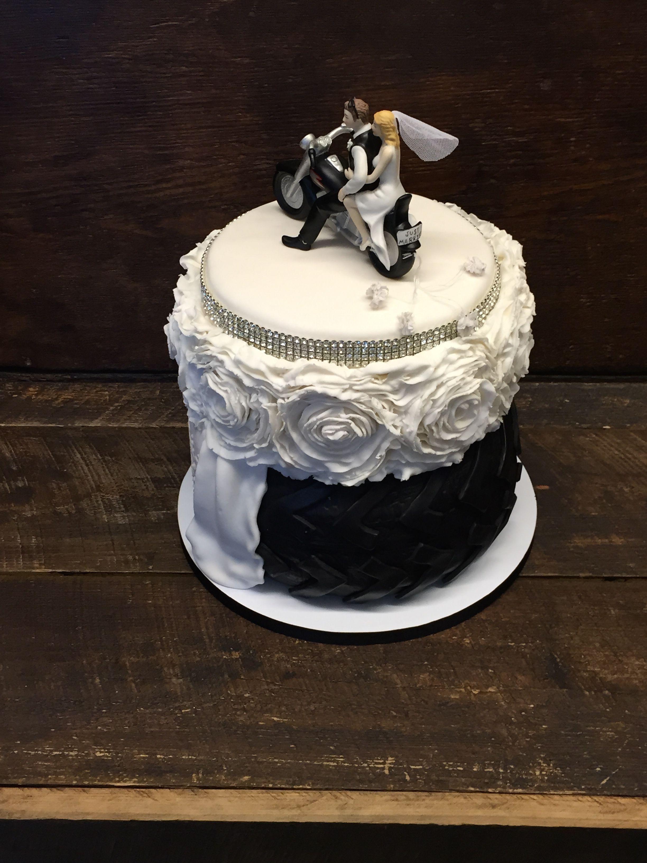 Our Motorcycle Bride Groom Wedding Cake created custom Tire