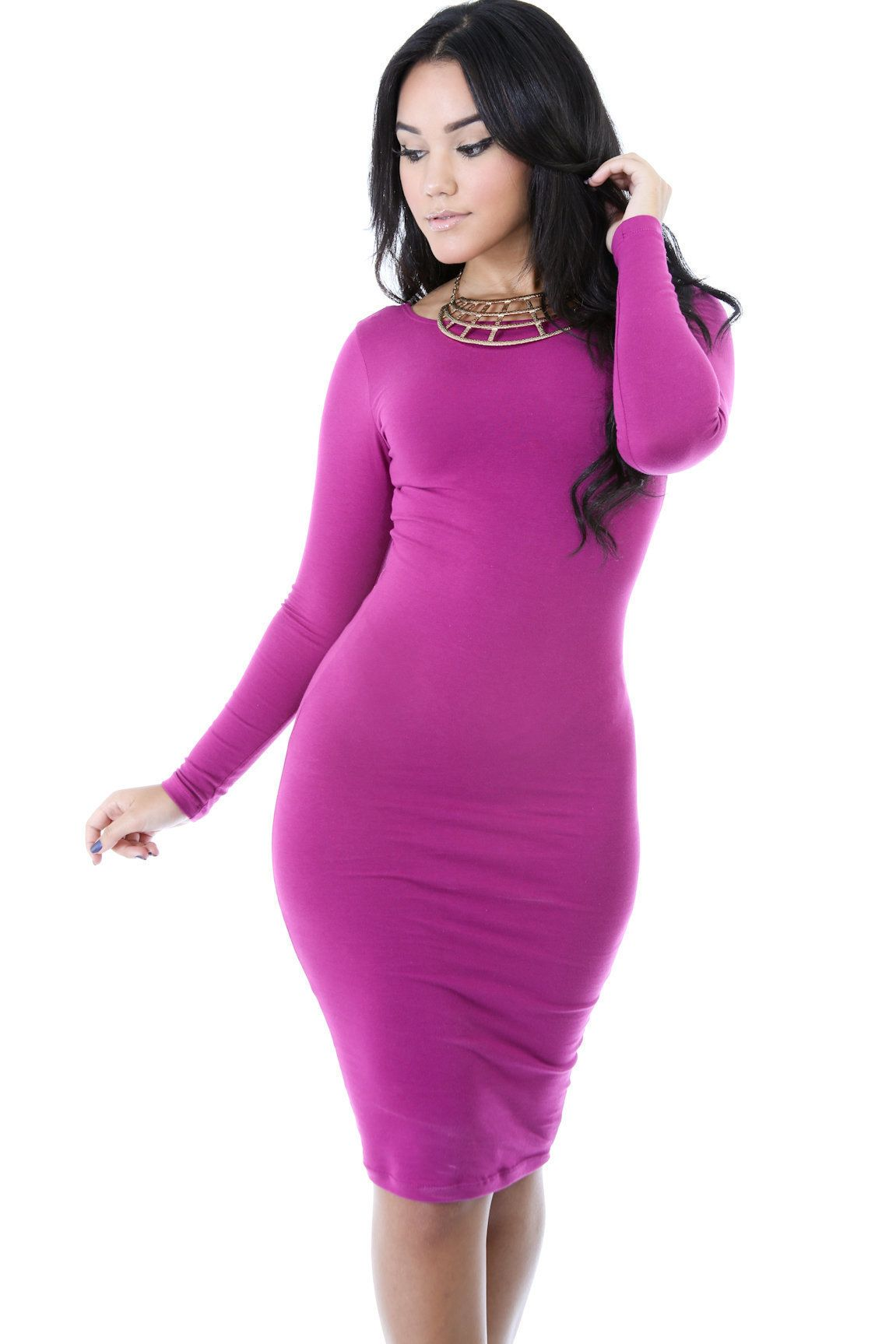 Simple fashion long sleeve cotton bodycon short dress on luulla my