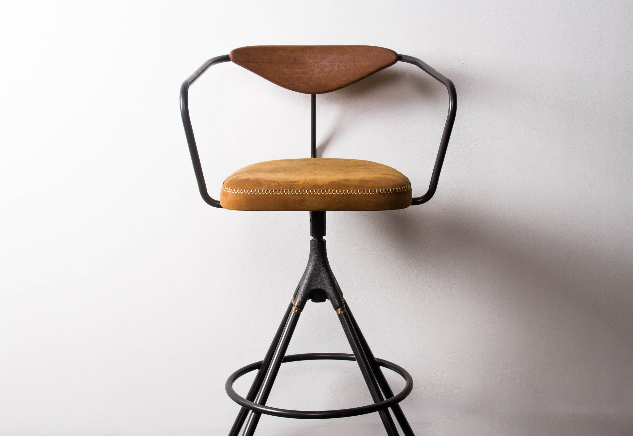 Akron Bar Stool With Backrest Leather Seat Designer Bar Stools