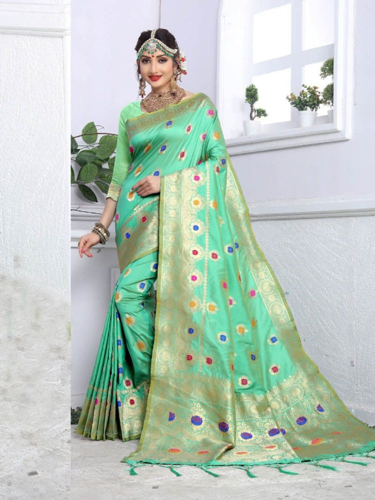ad7a5e4c7c1aab #Party wear #Indian #Designer #New Collection #Banarasi Silk #Meena work # Saree #Blouse #Handmade #Saree