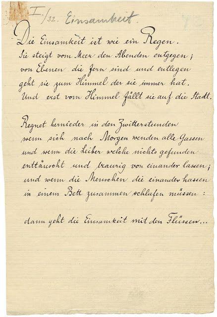 Rilkes Gedicht Einsamkeit Handschriftlich Vor  Einsamkeit Spruche Rilke Zitate