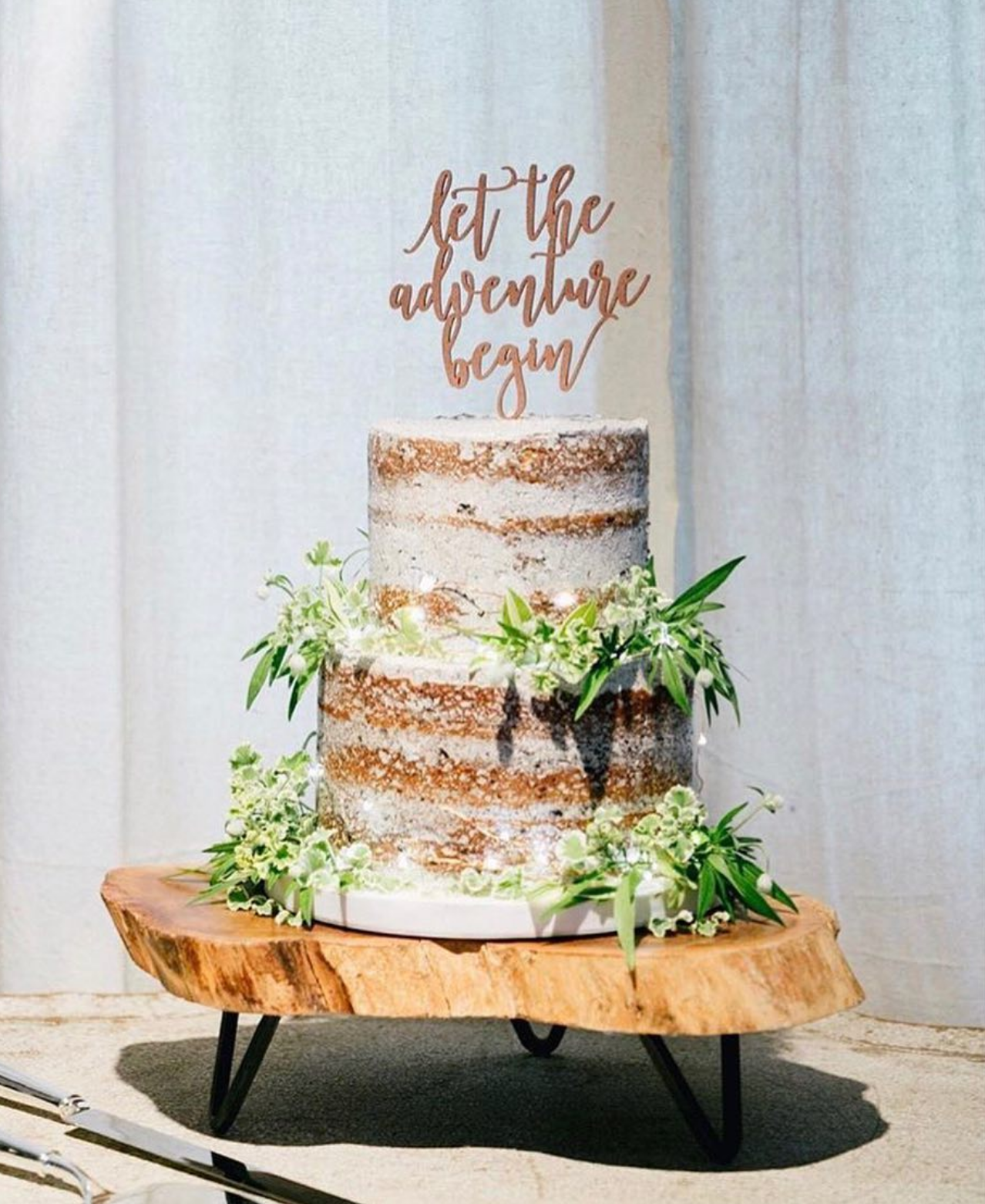Let The Adventure Begin Cake Topper Floral Wedding Cakes