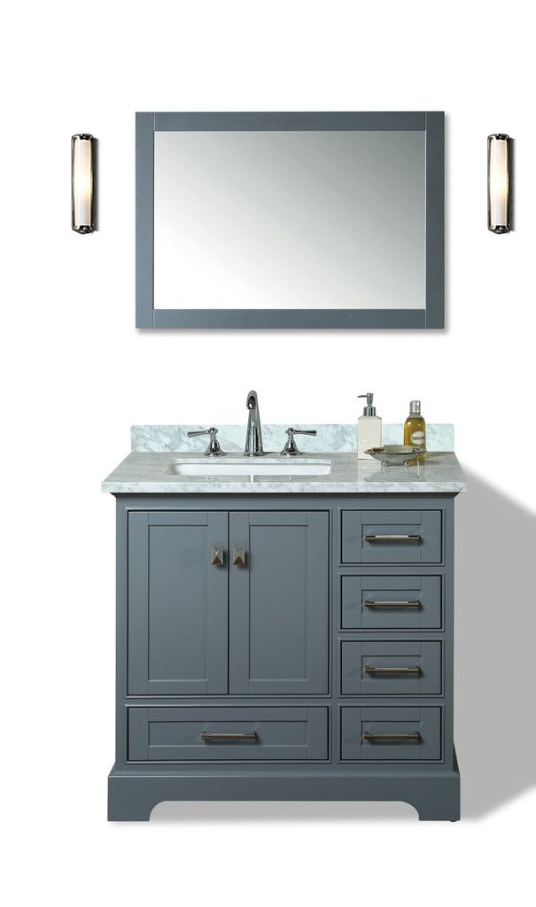 36 Bathroom Vanity Gray: Newport 36-inch Single Sink Bathroom Vanity With Mirror