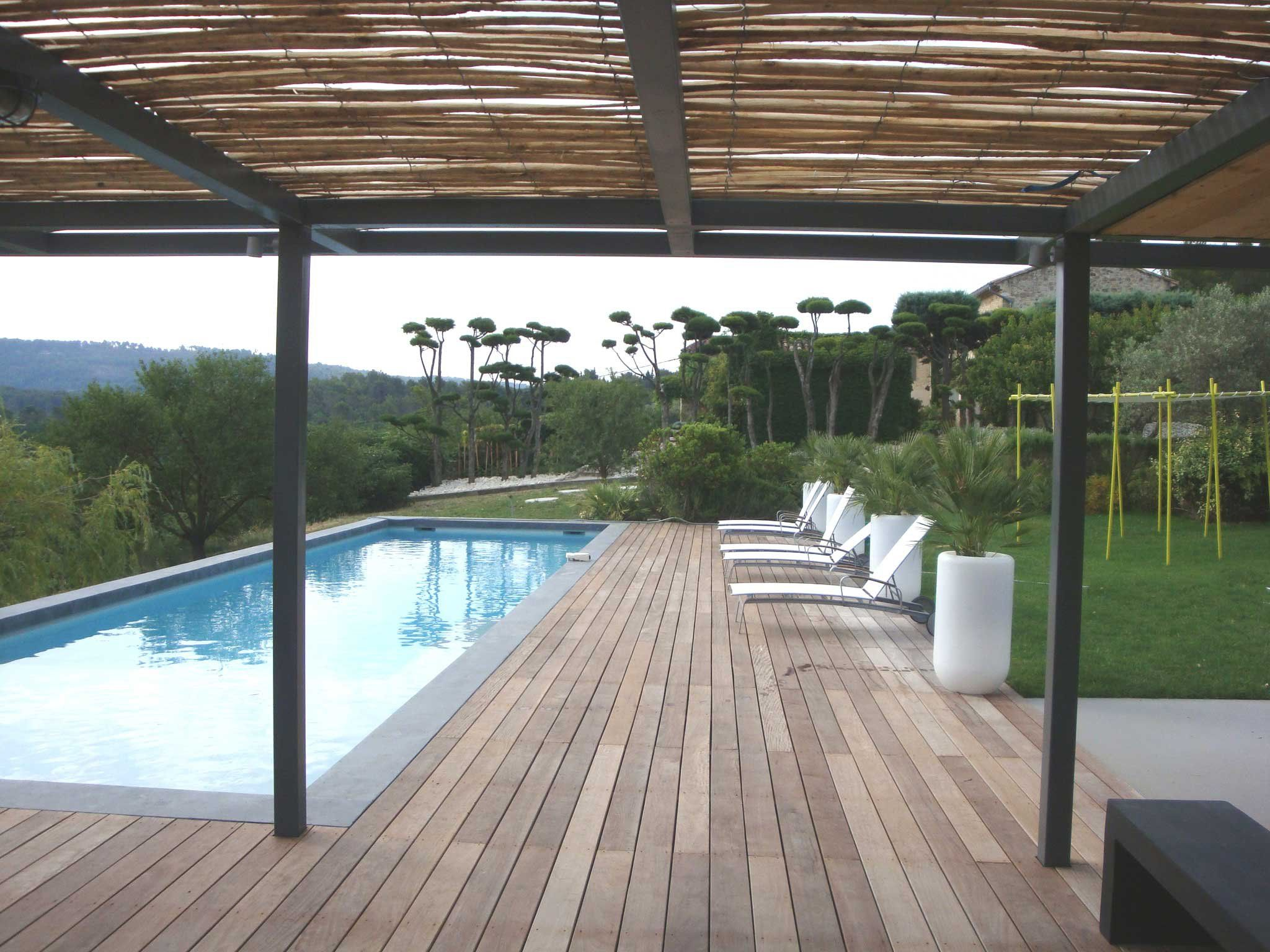 pergola canisse bois piscine outdoor pinterest. Black Bedroom Furniture Sets. Home Design Ideas